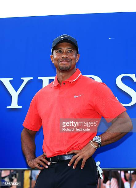 Tiger Woods of the USA takes the stage for the tropht presentation after winning THE PLAYERS Championship at THE PLAYERS Stadium course at TPC...