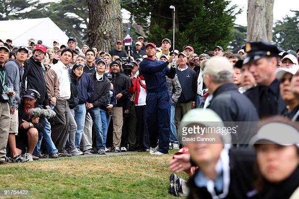 Tiger Woods of the USA Team hits his second shot on the 10th hole during the Day Four Singles Matches in The Presidents Cup at Harding Park Golf...