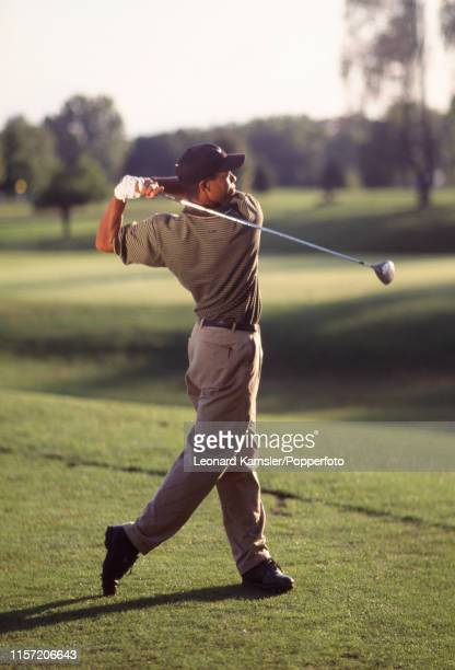 Tiger Woods of the USA teeing off circa 1996