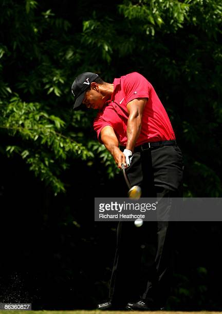 Tiger Woods of the USA tee's off at the 5th during the final round of the Quail Hollow Championship at Quail Hollow Golf Club on May 3 2009 in...