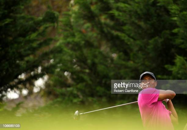 Tiger Woods of the USA tees off during day one of the Australian Masters at The Victoria Golf Club on November 11, 2010 in Melbourne, Australia.