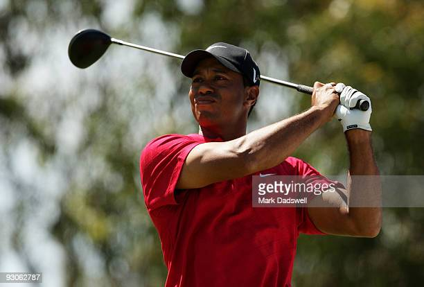 Tiger Woods of the USA tees off on the 12th hole during the final round of the 2009 Australian Masters at Kingston Heath Golf Club on November 15,...