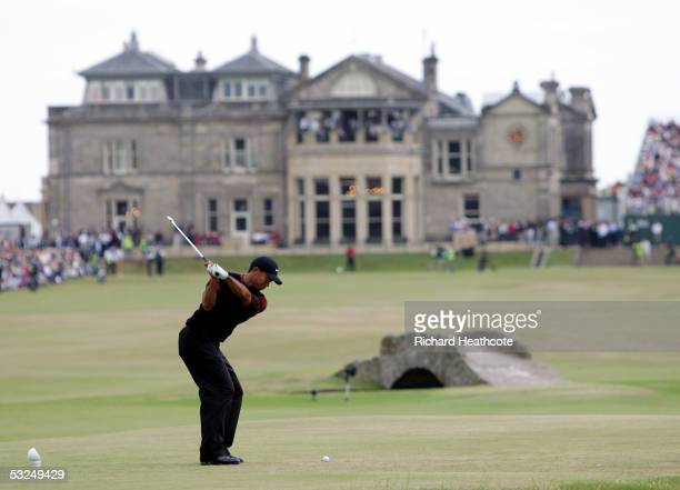 Tiger Woods of the USA tees off on the 18th hole during the final round of the 134th Open Championship at Old Course St Andrews Golf Links July 17...