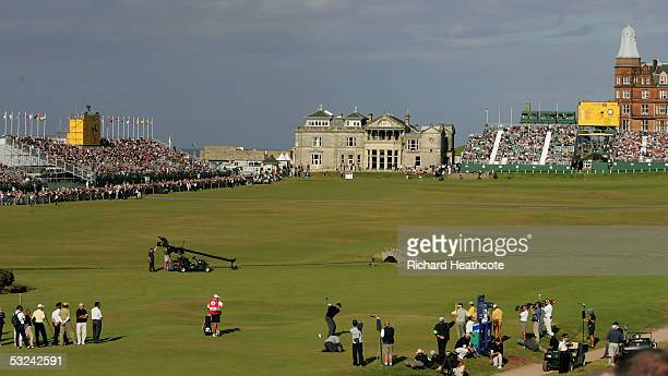 Tiger Woods of the USA tees off on the 18th hole during the second round of the 134th Open Championship at Old Course, St. Andrews Golf Links, July...