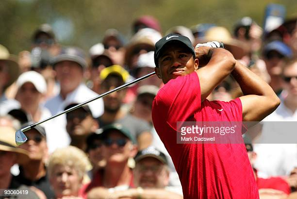 Tiger Woods of the USA tees off on the 3rd hole during the final round of the 2009 Australian Masters at Kingston Heath Golf Club on November 15,...