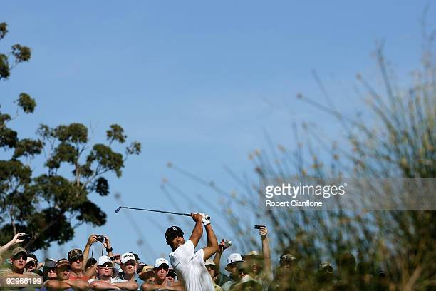 Tiger Woods of the USA tees off on the 8th hole during the Pro-Am ahead of the 2009 Australian Masters at Kingston Heath Golf Club on November 11,...