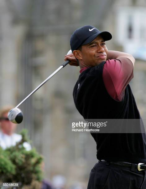 Tiger Woods of the USA tees off on the second hole during the final round of the 134th Open Championship at Old Course, St Andrews Golf Links, July...