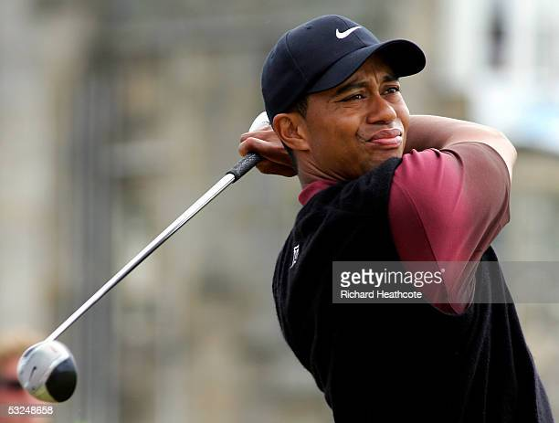 Tiger Woods of the USA tees off on the second hole during the final round of the 134th Open Championship at Old Course St Andrews Golf Links July 17...
