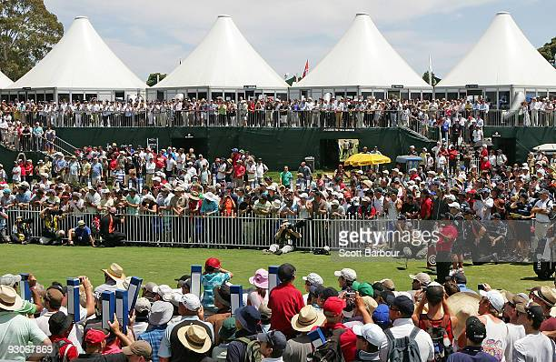 Tiger Woods of the USA tees off on the1st hole during the final round of the 2009 Australian Masters at Kingston Heath Golf Club on November 15, 2009...