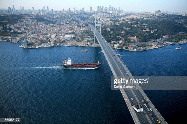 Tiger Woods of the USA the World Number One makes history as he hits the first golf shots from East to West on Istanbul's iconic Bosphorus Bridge...
