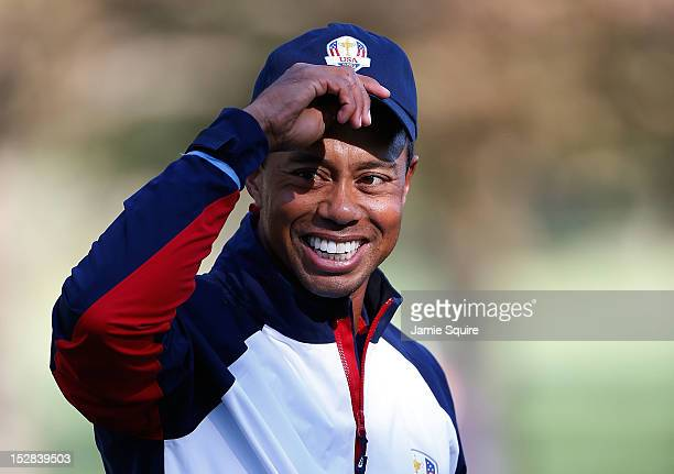 Tiger Woods of the USA waits on the practice ground during the fourth preview day of The 39th Ryder Cup at Medinah Country Club on September 27 2012...