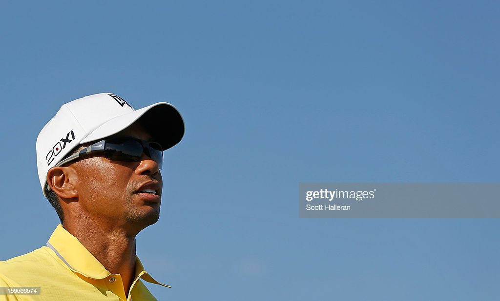 Tiger Woods of the USA walks off a tee box during the Pro Am prior to the start of The Abu Dhabi HSBC Golf Championship at Abu Dhabi Golf Club on January 16, 2013 in Abu Dhabi, United Arab Emirates.