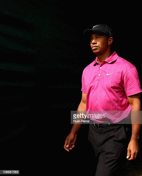 Tiger Woods of the USA walks to the first tee during day one of the Australian Masters at The Victoria Golf Club on November 11, 2010 in Melbourne,...