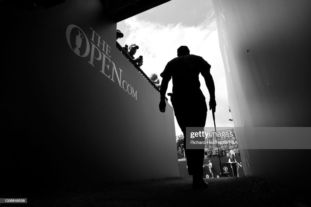 Tiger Woods of the USA walks to the first tee during the final round of the Open Championship at Carnoustie Golf Club on July 22, 2018 in Carnoustie, Scotland.