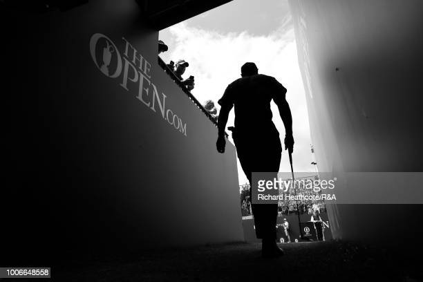 Tiger Woods of the USA walks to the first tee during the final round of the Open Championship at Carnoustie Golf Club on July 22 2018 in Carnoustie...