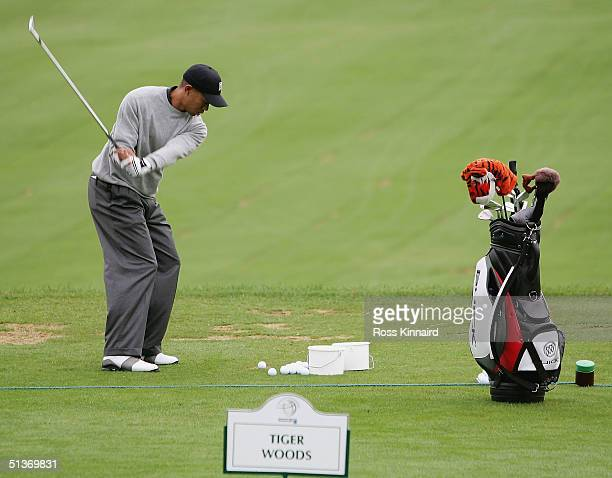 Tiger Woods of the USA warms up on the driving range prior a practice round before the start of the American Express Championship at the Mount Juliet...