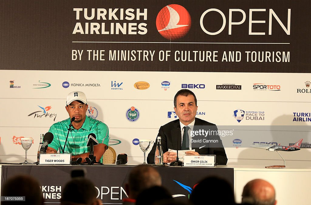 Tiger Woods of the USA with Omer Celik from The Turkish Ministry of Culture and Tourism speaking during the Tiger Woods media conference as a preview for the 2013 Turkish Airlines Open on the Montgomerie Maxx Royal Course on November 6, 2013 in Antalya, Turkey.