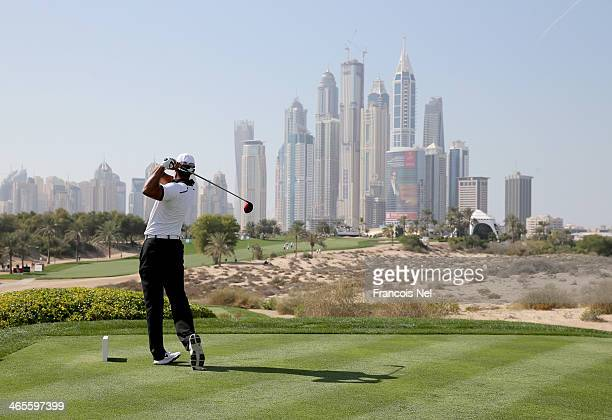 Tiger Woods of United States in action during the Champions Challenge as a preview for the 2014 Omega Dubai Desert Classic on January 28 2014 in...