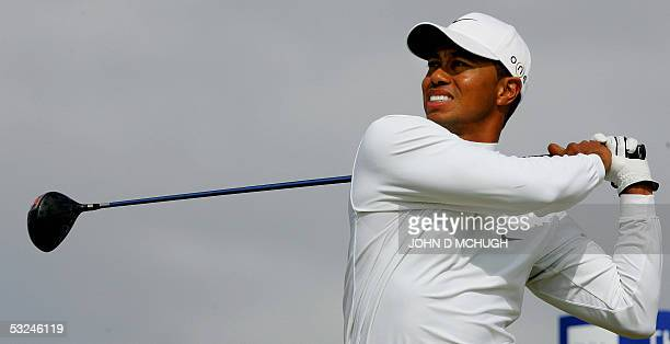 Tiger Woods of US drives from the 6th tee during the third round of the 134th Open Championship on the Old Course in St. Andrews, Scotland, 16 July,...