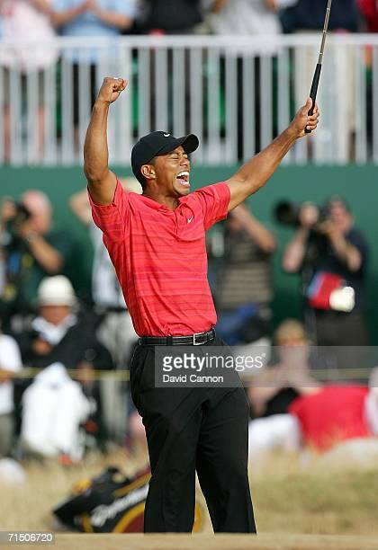 Tiger Woods of USA celebrates his victory at the end of the final round of The Open Championship at Royal Liverpool Golf Club on July 23 2006 in...