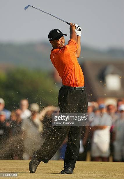 Tiger Woods of USA hits an approach shot during the first round of The Open Championship at Royal Liverpool Golf Club on July 20, 2006 in Hoylake,...
