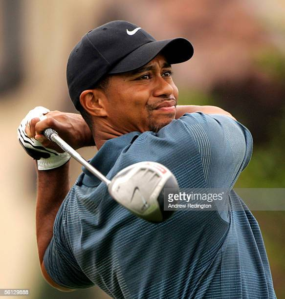 Tiger Woods of USA hits his tee-shot on the 18th hole during the first round of the HSBC Champions tournament at The Sheshan International Golf Club...