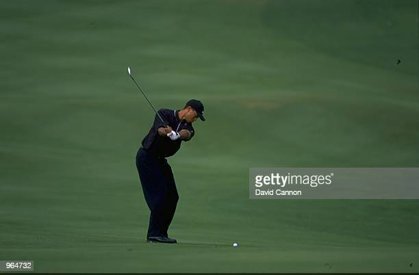 Tiger Woods of USA in action during the Johnnie Walker Classic played at the Alpine Golf and Sports Club on November 17 2000 in Bangkok Thailand...