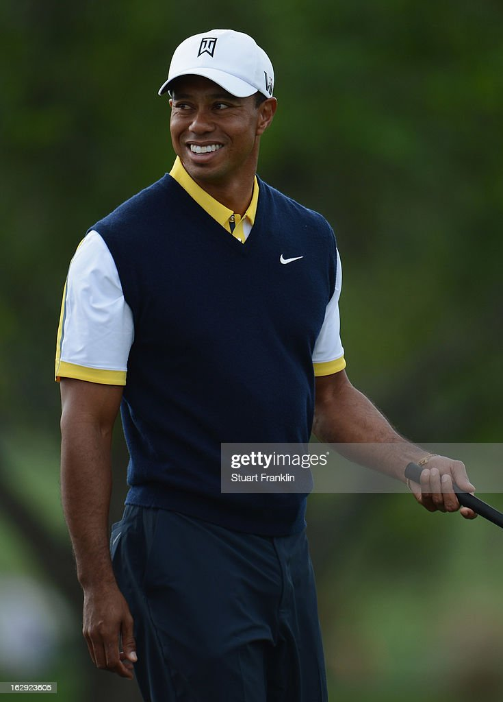 Tiger Woods of USA looks happy on the nineth hole during the second round of the Honda Classic on March 1, 2013 in Palm Beach Gardens, Florida.