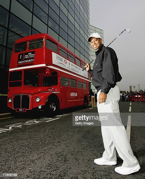 Tiger Woods of USA poses next to a routemaster bus during the launch of the HSBC World Match Play Championship at Canary Wharf on September 12, 2006...