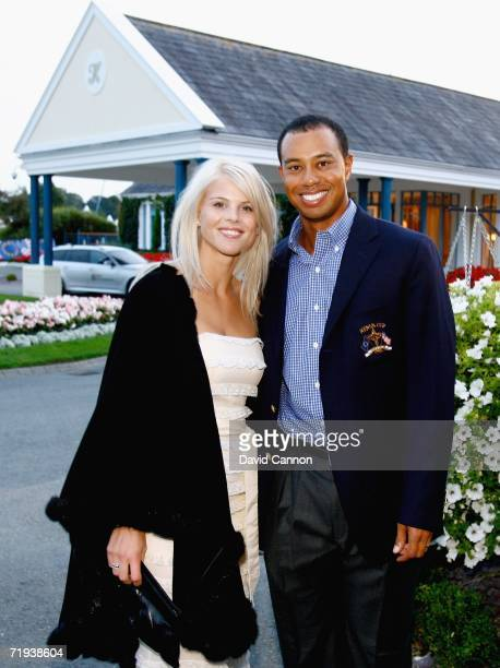 Tiger Woods of USA poses with his wife Elin Nordegren at The Welcome Dinner after the first official practice day of the 2006 Ryder Cup at The K Club...