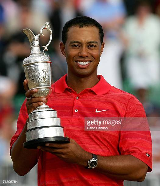 Tiger Woods of USA poses with the claret jug following his two shot victory at the end of the final round of The Open Championship at Royal Liverpool...