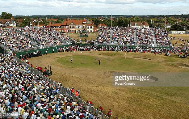 Tiger Woods of USA putts on the 18th green during the final round of The Open Championship at Royal Liverpool Golf Club on July 23, 2006 in Hoylake,...