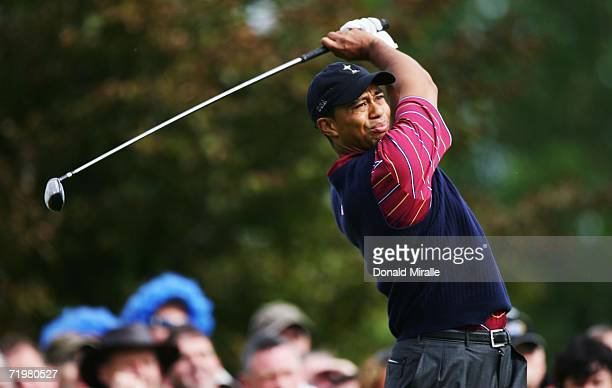 Tiger Woods of USA tees off during his singles match against Robert Karlsson of Europe on the final day of the 2006 Ryder Cup at The K Club on...