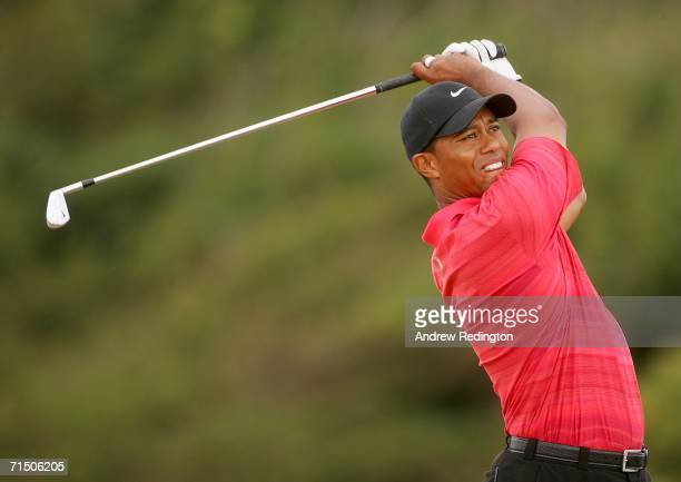 Tiger Woods of USA tees off on the 10th hole during the final round of The Open Championship at Royal Liverpool Golf Club on July 23, 2006 in...