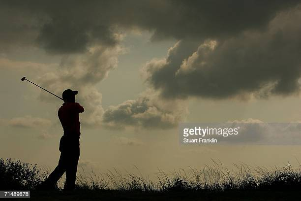 Tiger Woods of USA tees off on the 11th hole during the first round of The Open Championship at Royal Liverpool Golf Club on July 20, 2006 in...
