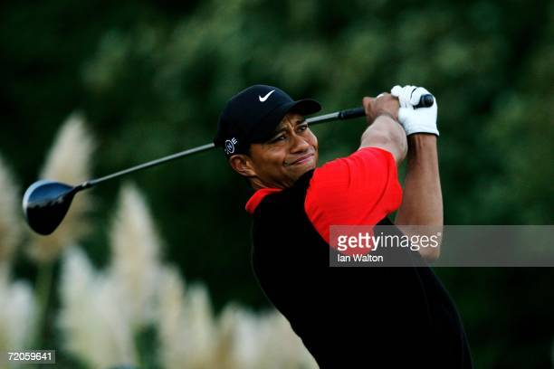 Tiger Woods of USA tees off on the 17th hole during the final round of the WGC American Express Championship at The Grove on October 1 2006 in...