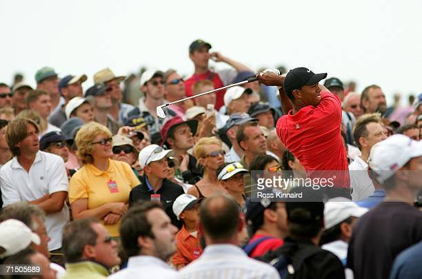 Tiger Woods of USA tees off on the 7th hole during the final round of The Open Championship at Royal Liverpool Golf Club on July 23, 2006 in Hoylake,...