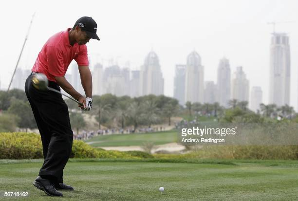 Tiger Woods of USA tees off on the eighth hole during the final round of the Dubai Desert Classic on February 5, 2006 on the Majilis Course at...