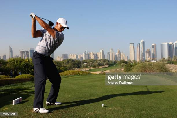 Tiger Woods of USA tees off on the eighth hole during the Pro-Am for the Dubai Desert Classic on the Majilis course at Emirates Golf Club on January...