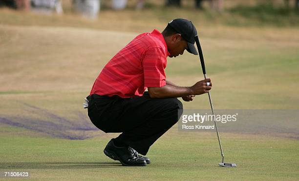 Tiger Woods of USA waits to putt on the 18th green during the final round of The Open Championship at Royal Liverpool Golf Club on July 23 2006 in...
