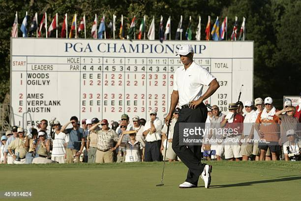 Tiger Woods on 18 green after missing his putt for birdie during Round 2 of the 89th PGA Championship held at Southern Hills Country Club in Tulsa...