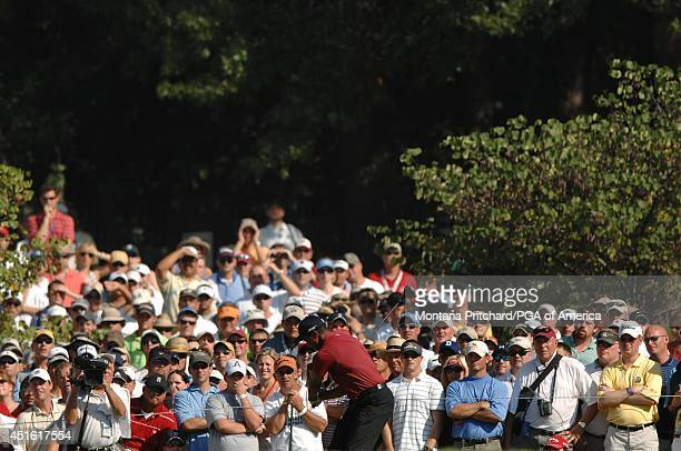 Tiger Woods on No 16 tee during the Final Round of the 89th PGA Championship held at Southern Hills Country Club in Tulsa Oklahoma Sunday August 12...