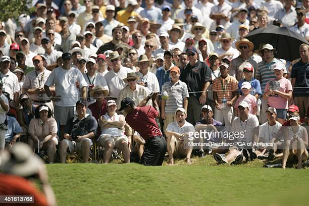 Tiger Woods on No 5 tee box during the Final round of the 89th PGA Championship held at Southern Hills Country Club in Tulsa Oklahoma Sunday August...