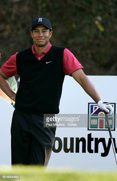 Tiger Woods on the 18th hole tee during the forth round of the Target World Challenge held at Sherwood Country Club
