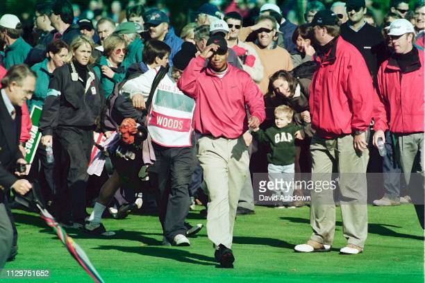Tiger Woods on the final day Cisco World Match Play golf at the Wentworth Club England 1518th October 1998