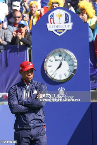 Tiger Woods on the first tee during singles matches of the 2018 Ryder Cup at Le Golf National on September 30 2018 in Paris France