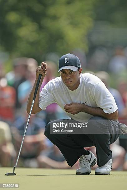 Tiger Woods on the second hole during the third round of the Memorial Tournament Presented by Morgan Stanley held at Muirfield Village Golf Club in...
