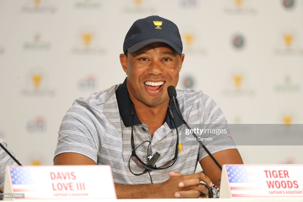 Tiger Woods one of the United States team's vice-captains during the captain's media conference for the 2017 Presidents Cup at the Liberty Natioanl Golf Club on September 27, 2017 in Jersey City, New Jersey.