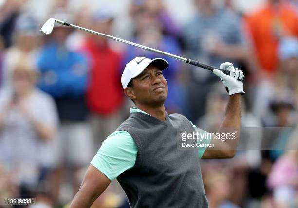 Tiger Woods pf the United States plays his tee shot on the par 3, third hole during the third round of the 2019 Players Championship held on the...