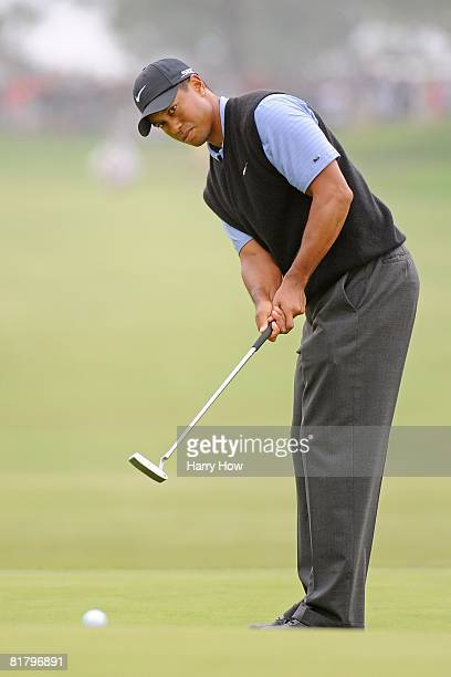 Tiger Woods plays a putt during the third round of the 108th US Open at the Torrey Pines Golf Course on June 14 2008 in San Diego California